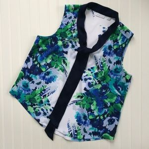 New York & Co. Sleeveless Floral Top V-neck Size L
